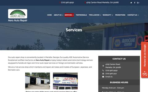 Screenshot of Services Page aeroautomotive.com - Auto Repair Marietta GA, Georgia: Aero Auto Repair in Marietta Georgia | Auto Repair Marietta GA - Oil Changes, Brake Repairs - captured July 29, 2018