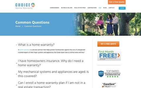 Screenshot of FAQ Page choicehomewarranty.com - Frequently Asked Questions | Choice Home Warranty - captured July 17, 2018