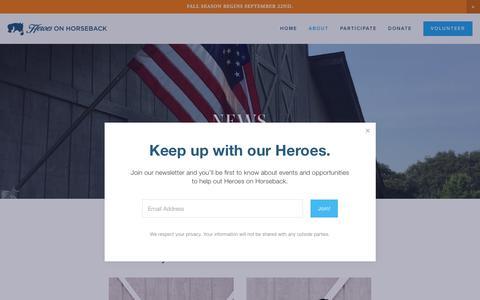 Screenshot of Press Page heroesonhorseback.org - News — Heroes on Horseback - captured Nov. 5, 2018