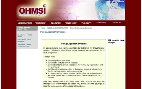 Screenshot of Signup Page ohmsi.net - Oriental Hearts and Mind Study Institute (OHMSI) - Pledge Against Corruption - captured Oct. 7, 2014