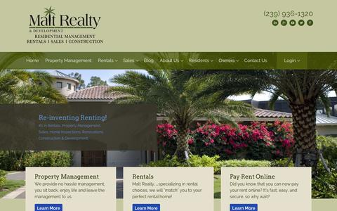 Screenshot of Home Page maltrealty.com - Malt Realty & Development | Fort Myers, Cape Coral - captured Feb. 4, 2016