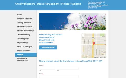 Screenshot of Contact Page hypnosisfortcollins.com - Contact - Anxiety Disorders | Stress Management | Medical Hypnosis - captured Oct. 6, 2014