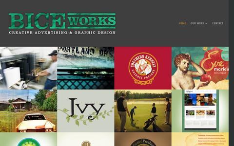 Screenshot of Home Page biceworks.com - BICEworks | Creative Advertising & Graphic Design - captured April 21, 2016
