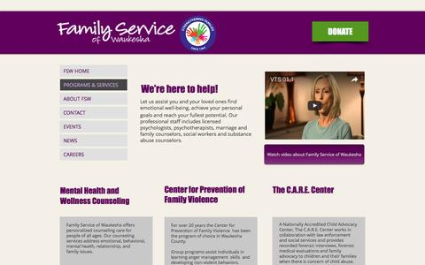 Screenshot of Services Page fswaukesha.org - Programs and Services | Family Service of Waukesha - captured Nov. 25, 2016