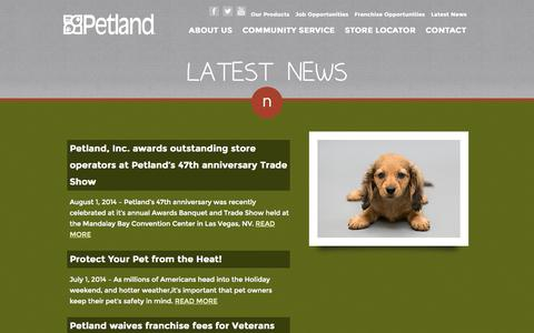 Screenshot of Press Page petland.com - Latest News :: Petland :: Petland Pets Make Life Better! - captured Sept. 23, 2014