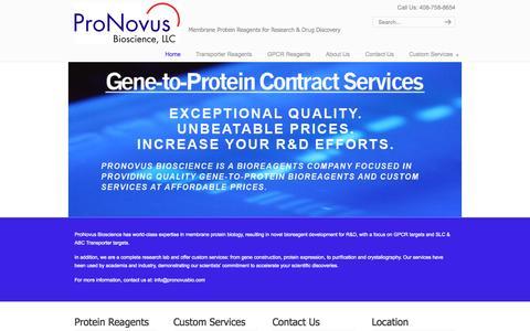 Screenshot of Home Page pronovusbio.com - ProNovus Bioscience, LLC - captured Sept. 18, 2015