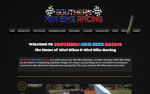 Screenshot of Home Page southernminibikeracing.com - Southern Mini Bike Racing, Mini Bikes, Mini Bike Parts - captured Oct. 7, 2014