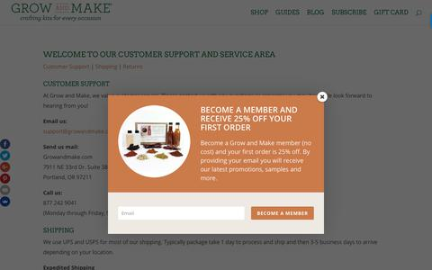 Screenshot of Support Page growandmake.com - Customer Service - Grow and Make - captured July 25, 2018
