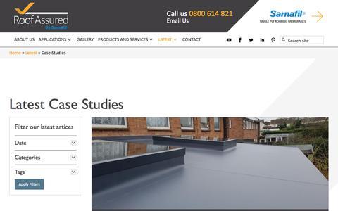 Screenshot of Case Studies Page roofassured.co.uk - Sarnafil Single Ply Membrane Case Studies Archives   Roof Assured - captured Oct. 23, 2017