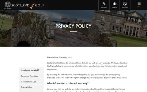 Screenshot of Privacy Page scotlandforgolf.co.uk - Privacy Policy | Scotland for Golf - captured July 28, 2018