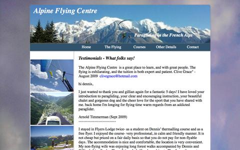 Screenshot of Testimonials Page flyers-lodge.com - testimonials from the Alpine Flying Centre - captured Oct. 4, 2014