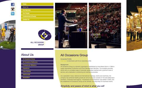 Screenshot of About Page alloccasionsgroup.com - About Us - All Occasions Group - captured Sept. 30, 2014
