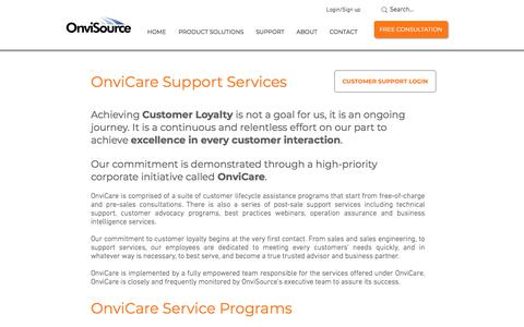Screenshot of Support Page onvisource.com - Customer & Technical Support Services | OnviSource - captured Nov. 9, 2019