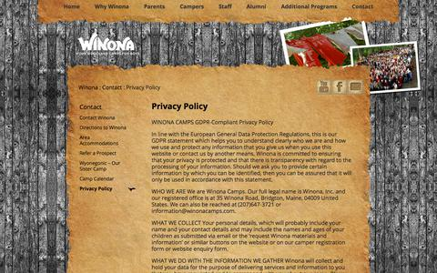 Screenshot of Privacy Page winonacamps.com - Privacy Policy - WinonaWinona - captured Sept. 20, 2018