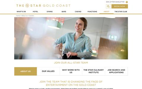 Screenshot of Jobs Page star.com.au - The Star Gold Cost Careers | Jupiters Gold Coast - captured Oct. 16, 2017