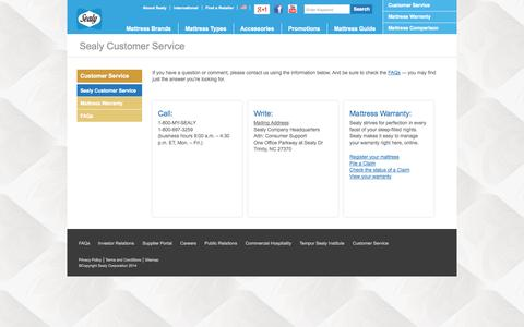 Screenshot of Support Page sealy.com - Contact Us | Customer Support | Sealy - captured Sept. 19, 2014