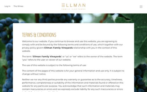 Screenshot of Terms Page ellmanfamilyvineyards.com - Ellman Family Vineyards - Legal - Terms Of Use - captured Oct. 30, 2019