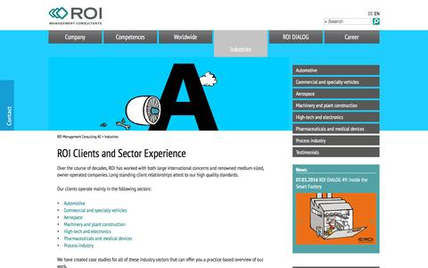 Screenshot of Case Studies Page roi-international.com - Industries - ROI Management Consulting - Unternehmensberatung - captured Dec. 10, 2016