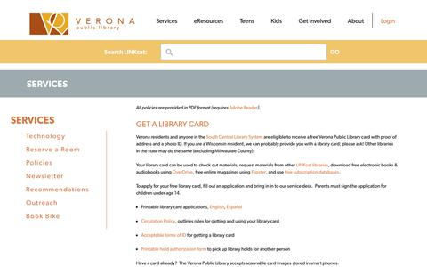 Screenshot of Services Page veronapubliclibrary.org - Services | Verona Public Library - captured Sept. 20, 2018