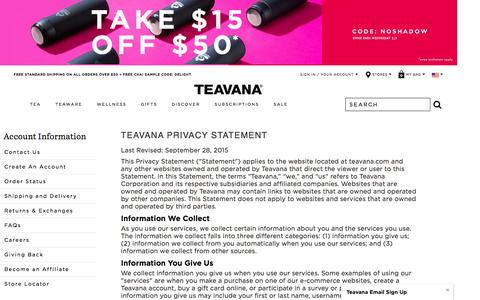 Teavana Privacy Statement