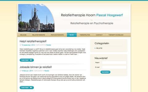Screenshot of Blog relatietherapie-hoorn.nl - Blog | Relatietherapie in Hoorn met relatietherapeut Pascal Hoogewerf - captured April 12, 2016