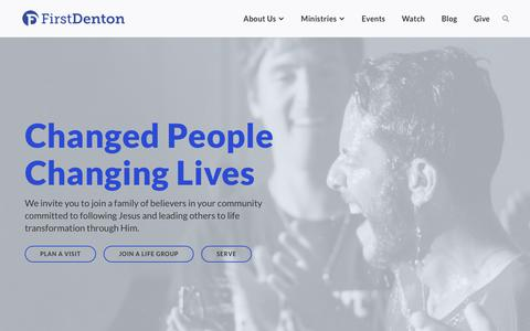Screenshot of Home Page firstdenton.org - First Denton | Baptist Church in Denton, TX - captured Oct. 10, 2018