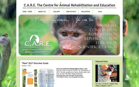 Screenshot of Blog primatecare.org - C.A.R.E. animal & baboon rehabilitation sanctuary. Volunteer in Africa | Blog - captured Jan. 31, 2017