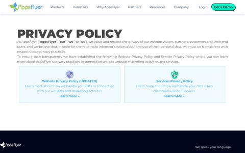 Screenshot of Privacy Page appsflyer.com - Privacy Policy | AppsFlyer - captured Jan. 17, 2020