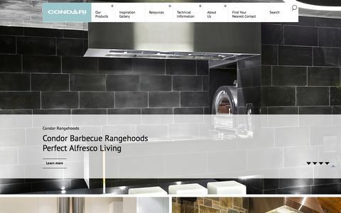 Screenshot of Home Page condari.com.au - CONDARI - Qasair and Condor Rangehoods, BBQs & More - captured Jan. 30, 2016