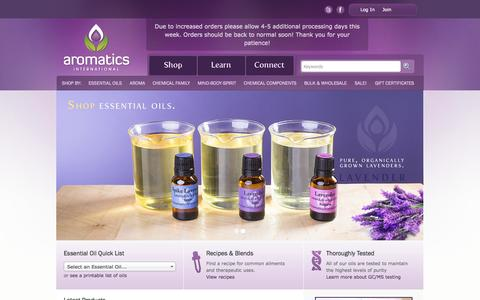 Screenshot of Home Page aromaticsinternational.com - Aromatics International | Essential Oils and Aromatherapy Products | High-Quality, Organic & Wild-Crafted - captured Sept. 24, 2014