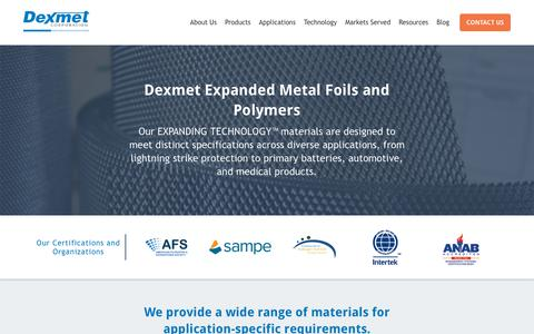 Screenshot of Products Page dexmet.com - Expanded Material Solutions | Dexmet - captured Oct. 9, 2018