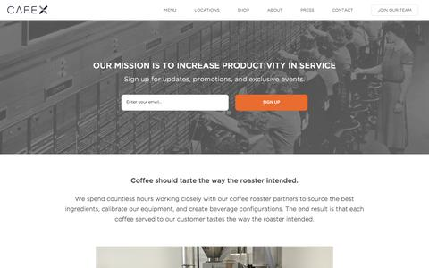 Screenshot of About Page cafexapp.com - Cafe X: Increasing productivity in service - captured July 11, 2017