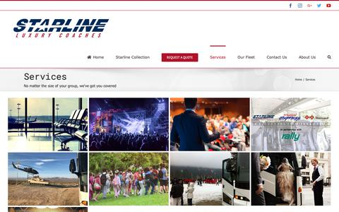 Screenshot of Services Page discoverstarline.com - Starline Luxury Coaches - Services - captured May 29, 2019