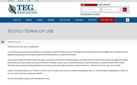 Screenshot of Terms Page tegfcu.com - TEGFCU Terms of Use | Poughkeepsie, Newburgh, NY: TEG Federal Credit Union - captured June 29, 2019