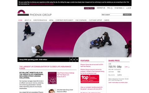 Screenshot of Home Page thephoenixgroup.com - Home - Phoenix Group - captured Oct. 2, 2014