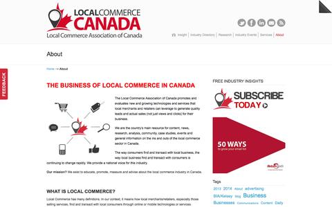 Screenshot of About Page localcommercecanada.com - The business of Local Commerce in Canada | Main association highlighting technologies and services helping local businesses market and sell to local customers. Local Marketing, Local Commerce - captured Oct. 3, 2014