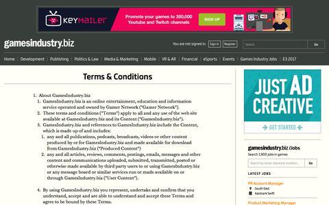 Screenshot of Terms Page gamesindustry.biz - Terms & Conditions   GamesIndustry.biz - captured June 20, 2017
