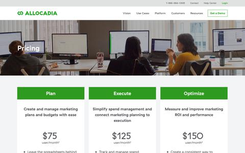 Screenshot of Pricing Page allocadia.com - Pricing | Allocadia Marketing Performance Management - captured Sept. 18, 2019