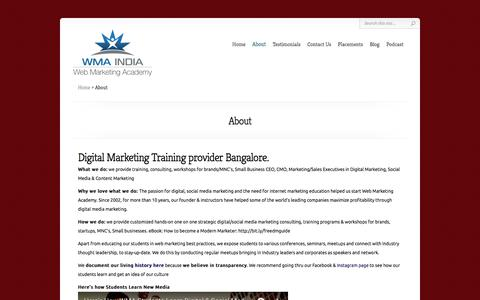 Screenshot of About Page webmarketingacademy.in - About Web Marketing Academy * Making You A Confident Marketer * - captured March 20, 2018