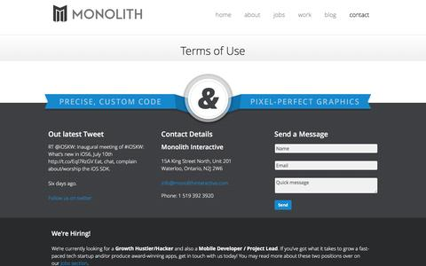 Screenshot of Terms Page monolithapps.com - Monolith Interactive - Precision mobile apps and User Experience design in Waterloo, Canada - captured Nov. 29, 2016