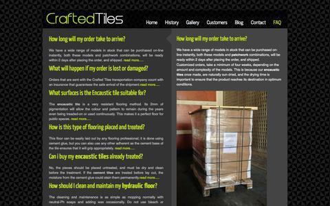 Screenshot of FAQ Page crafted-tiles.com - Cuban Heritage tiles - captured Sept. 30, 2014