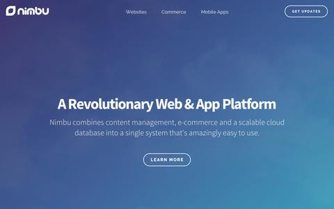 Screenshot of Home Page nimbu.io - Nimbu · A Revolutionary Web & App Platform · CMS - captured Dec. 5, 2016