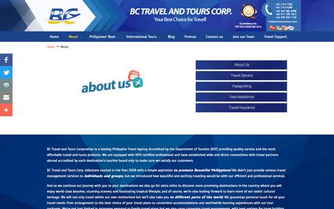 Screenshot of About Page bctravelandtours.com - Philippine Travel Agency | BC Travel and Tours Corporation - captured Nov. 21, 2016