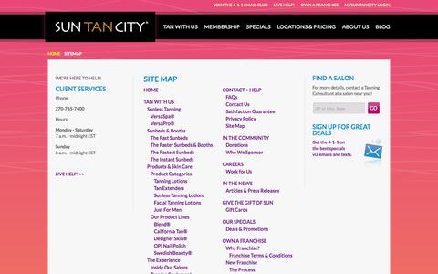 Screenshot of Site Map Page suntancity.com - Site Map - captured Sept. 23, 2014