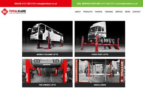 Screenshot of Products Page totalkare.co.uk - See Our Range Of Vehicle Lifts & Products   TotalKare - captured Jan. 29, 2018