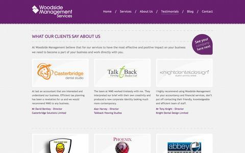 Screenshot of Testimonials Page wmsltd.co.uk - Customer Testimonials - Woodside Management Services - captured Nov. 5, 2014