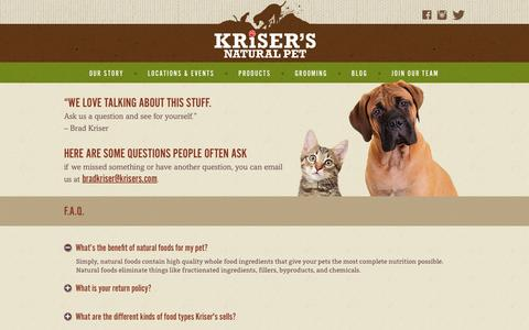 Screenshot of FAQ Page krisers.com - FAQ | Pet Health & Product Questions | Kriser's - captured March 15, 2017