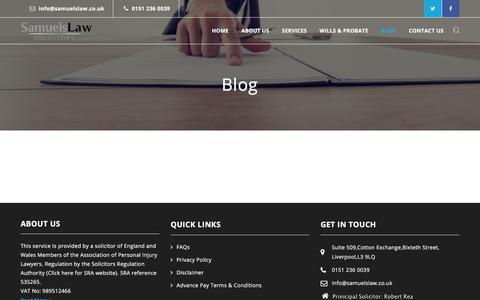 Screenshot of Blog samuelslaw.co.uk - Blog   Samuels Law - captured July 27, 2018