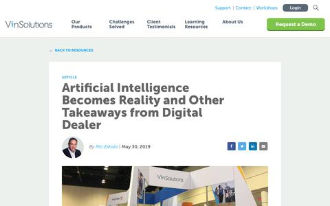 Screenshot of Blog vinsolutions.com - VinSolutions - Artificial Intelligence Becomes Reality and Other Takeaways from Digital Dealer - captured Dec. 3, 2019