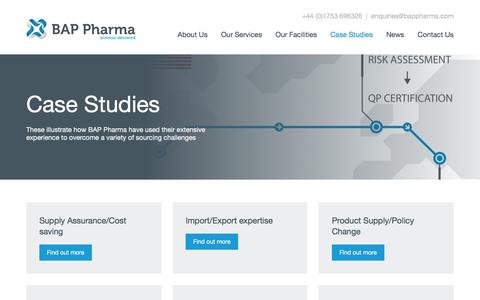 Screenshot of Case Studies Page bappharma.com - Case Studies | BAP Pharma - captured May 25, 2017